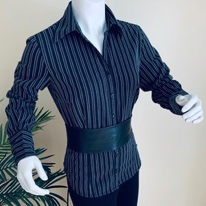 Vintage Black White Stripe Steampunk Goth Top